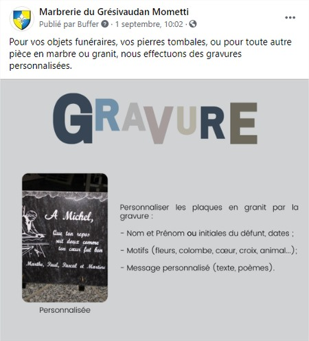 community manager marbrerie funéraire grenoble
